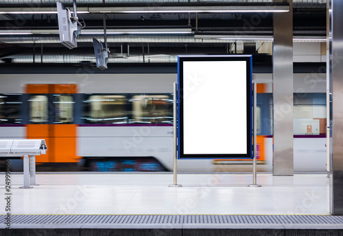 Fotografie, Tablou Mock up Board Banner Poster in Subway Train station Blur Train moving background