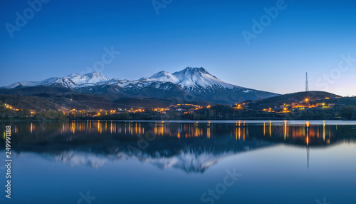 Wall Murals Kyoto natural background with snow-covered volcano and reflection in a mountain lake