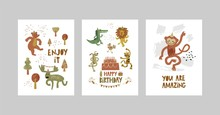 Cards Or Posters Set With Cute...