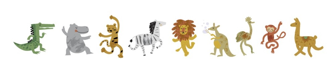 Vector illustration set of cute dancing animals in cartoon style