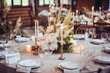 canvas print picture - rustic wedding decorations with flowers and candles. banquet decor. picture with soft focus
