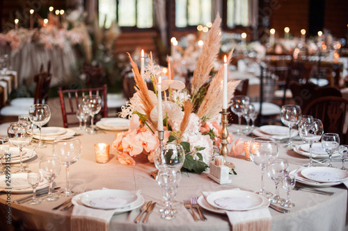 Fotografie, Obraz  rustic wedding decorations with flowers and candles