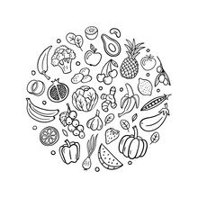Trendy Hand-drawn Fruits And Vegetables In Doodle Style. Vector Illustration Isolated On White Background. Great For Banners, Sites, Menu Design, Packaging, Cooking Book Or Advertising.