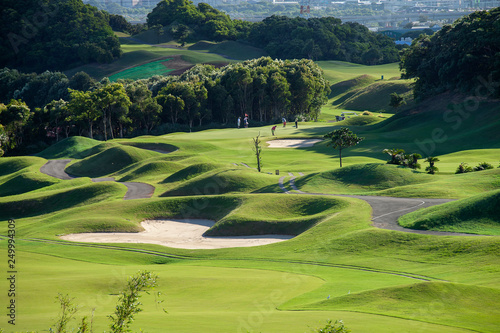 Nice green grass golf course. Golf club Fototapeta