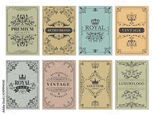 Obraz Vintage cards. Rustic victorian retro old pattern ornaments for frame design western backgrounds vector template. Illustration of pattern victorian, border ornament and decoration - fototapety do salonu