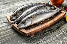 Board With Tasty Raw Mackerel ...