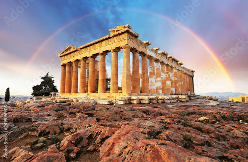 Poster Athenes Athens, Greece - Acropolis with rainbow