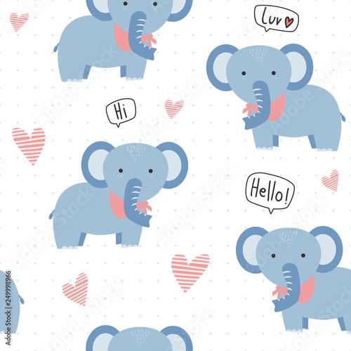 Cute Adorable Kawaii Blue Elephant With Heart Cartoon Pastel