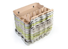 Stack Of Open Empty Egg Cartons On White Background