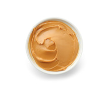 Tasty Peanut Butter In Bowl On White Background