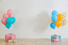 Birthday Balloons With Gift Boxes In Room