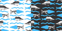 Hand Drawn Collage Seamless Pattern Of Pink Salmon Fish. Can Be Use For Menu Or Packaging Design. Seafood Vector Illustration. Modern Background