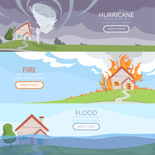 Disaster Weather Banners. Tsunami Volcano Wind Storm Rain House Damage From Lightening Vector Pictures With Place For Text. Illustration Of Hurricane Damage, Disaster And Storm