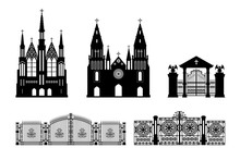Black Silhouettes Of Gothic Church, Crypt And Gate. Isolated Drawing Of Cathedral Build. Fantasy Architecture. European Medieval Landmark. Design Element