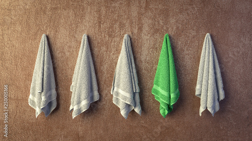 Fotografie, Obraz  Row of grey towels hanging on wall with one green