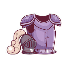 Rpg Fantasy Game Knight Breastplate And Helmet. Warrior Hero Armor And Helm Equipment Icons. Gaming Assets Design.