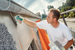canvas print picture - Plastering thermal insulation boards