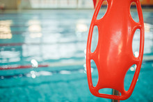 Marine Lifebuoy On Fence, Near Swimming Indoor Pool