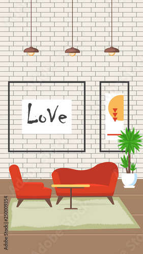 Foto op Plexiglas Retro sign Living Room Design Flat Vector Illustration