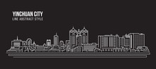 Cityscape Building Line Art Vector Illustration Design -  Yinchuan City