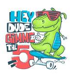 Fototapeta Dinusie - Skateboard dinosaur urban t-shirt print design, vector illustration.