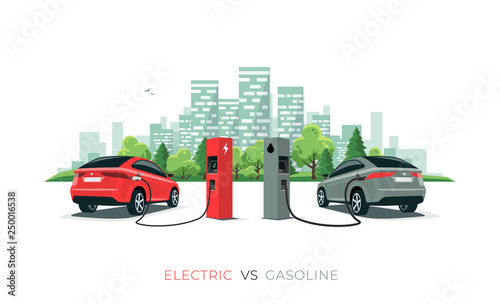 Electric Versus Gasoline Car Suv Charging At Charger Station Vs Fossil