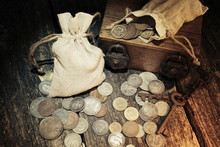 Pouch With Old Money And Coins...