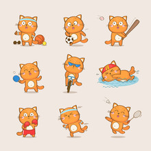Set Of Cute Cartoon Cat Character Representing Different Sports: Football, Baseball, Table Tennis, Cycling, Swimming, Boxing, Running, Badminton. Sport And Health Vector Collection