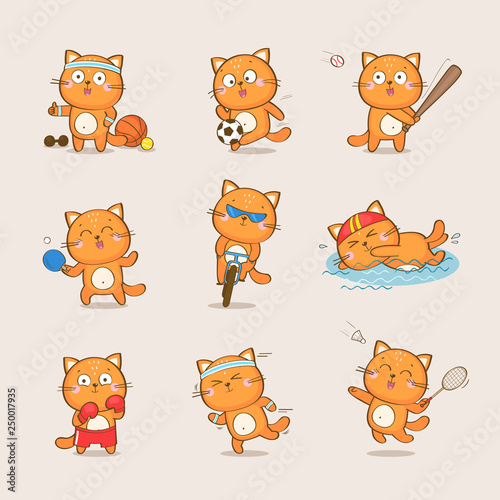 Set Of Cute Cartoon Cat Character Representing Different Sports Football Baseball Table Tennis Cycling Swimming Boxing Running Badminton Sport And Health Vector Collection Buy This Stock Vector And Explore Similar Vectors