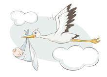Stork Bears Child. Vector Illu...