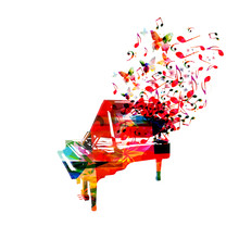 Colorful Piano With Music Note...
