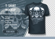 Tree Skulls With Apocalipse Text On Background .T-Shirt Template
