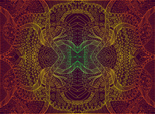 Psychedelic Trippy Colorful Fractal Mandala, Gradient Bright Color Outline, On Dark Brown Background. Decorative Element Flower Pattern. Vector Hand Drawn Shamanic  Background.