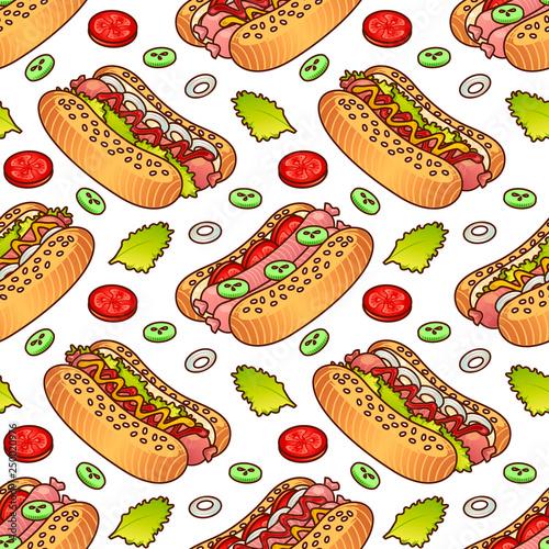 jedzenie-bez-szwu-wektor-wzor-z-hot-dog