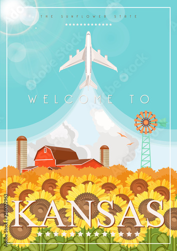 Photo Stands Turquoise Kansas is a US state. Vector concept of tourist postcard and souvenir. Beautiful places of the United States of America on posters.