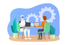 Man And Robot Working Together In Office.