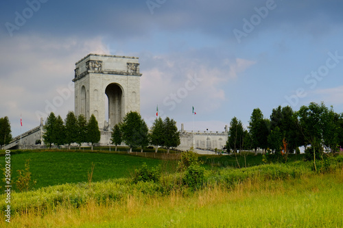 Landscape panorama and Military monument on Asiago in memory of soldiers died du Canvas Print