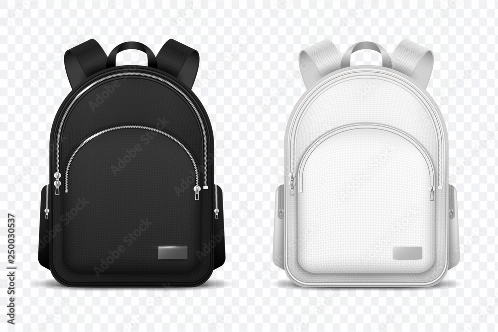 Fototapety, obrazy: School backpack. Black and white rucksack. Front view travel bag. 3d vector mockup isolated. Illustration of school backpack, bag and schoolbag