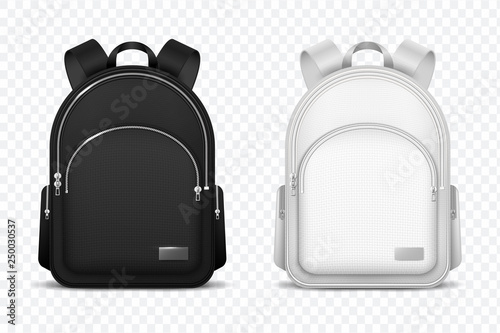 Obraz School backpack. Black and white rucksack. Front view travel bag. 3d vector mockup isolated. Illustration of school backpack, bag and schoolbag - fototapety do salonu