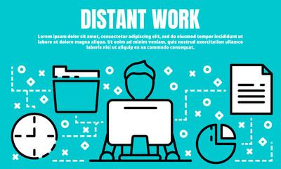 Distant work banner. Outline illustration of distant work vector banner for web design