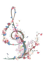 Abstract Treble Clef Decorated With Spring Flowers, Notes, Birds. Hand Drawn Musical Vector Illustration.