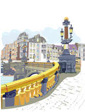 Series Of Colorful Street Views In The Old City With A View Of A Bridge. Hand Drawn Vector Architectural Background With Historic Buildings.