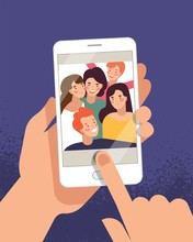 Hands Holding Mobile Phone With Happy Boys And Girls Displaying On Screen. Friends Posing For Selfie, Group Of Joyful People Photographing Themselves. Flat Colorful Cartoon Vector Illustration.