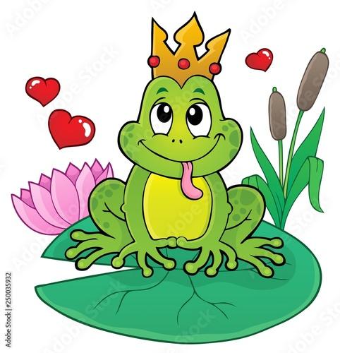 Fotobehang Voor kinderen Frog with crown theme image 2