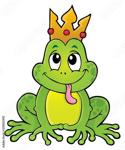 Fotobehang Voor kinderen Frog with crown theme image 1