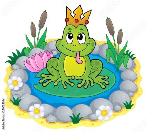 Fotobehang Voor kinderen Frog with crown theme image 3
