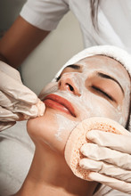 Young Woman With Perfect Skin, Towel On Head, Beauty Photo Concept, Skin Care, Spa Concept, Treatment, Facial Massage.