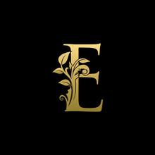 Golden Luxury E Letter Logo