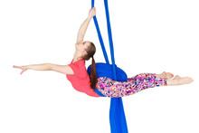 Young Girl Gymnast Hanging On ...