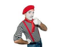 Cheerful Mime, Isolated On White. Man, As A Pantomime Actor, Showing Ok Sign And Looking At Camera.